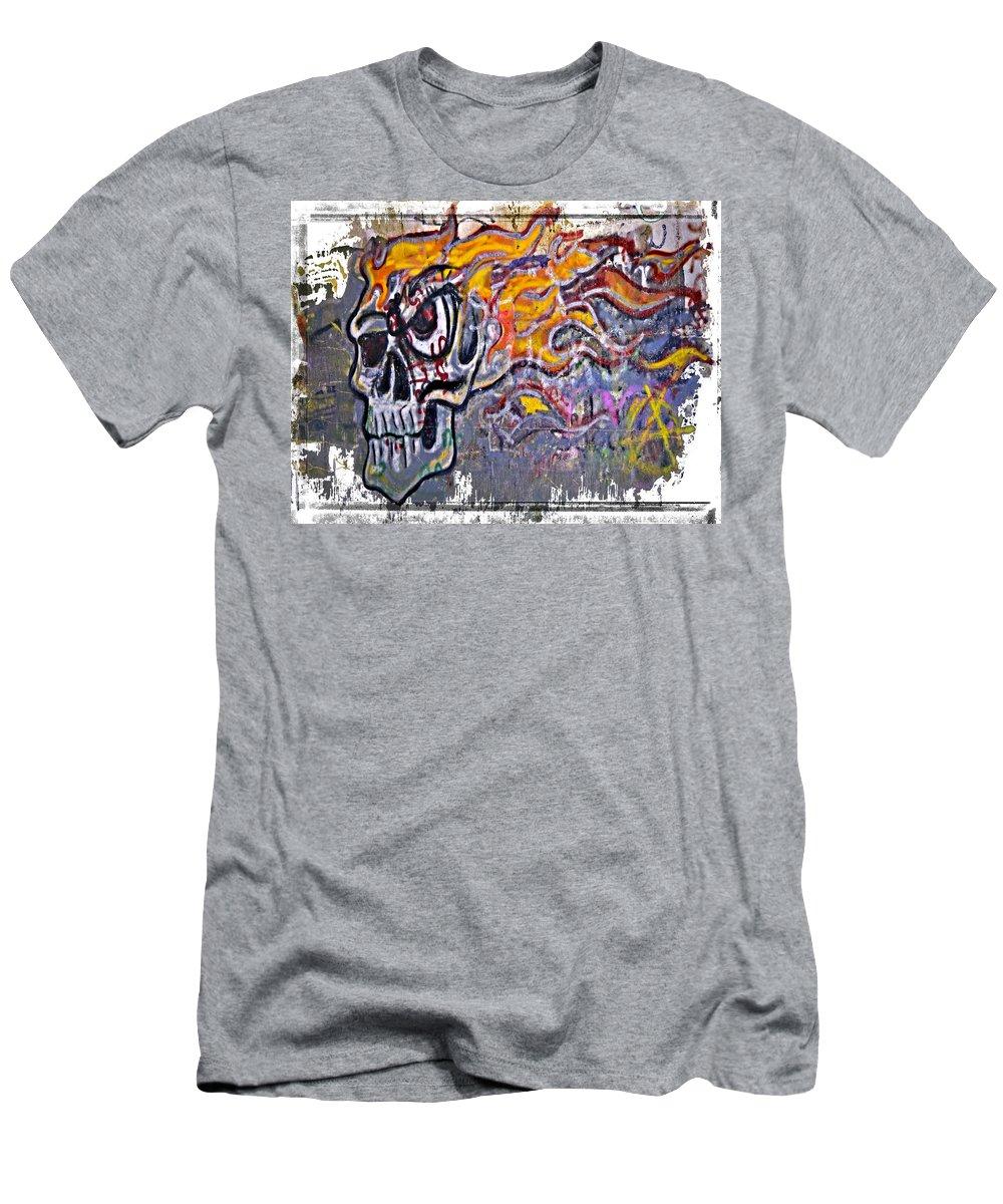 Graffiti Men's T-Shirt (Athletic Fit) featuring the photograph Graffiti Skull by Susan Leggett
