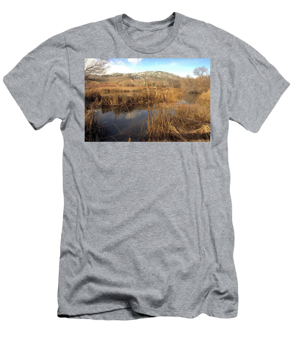 Marsh Men's T-Shirt (Athletic Fit) featuring the photograph Grass Swamp And Snow by John Greaves