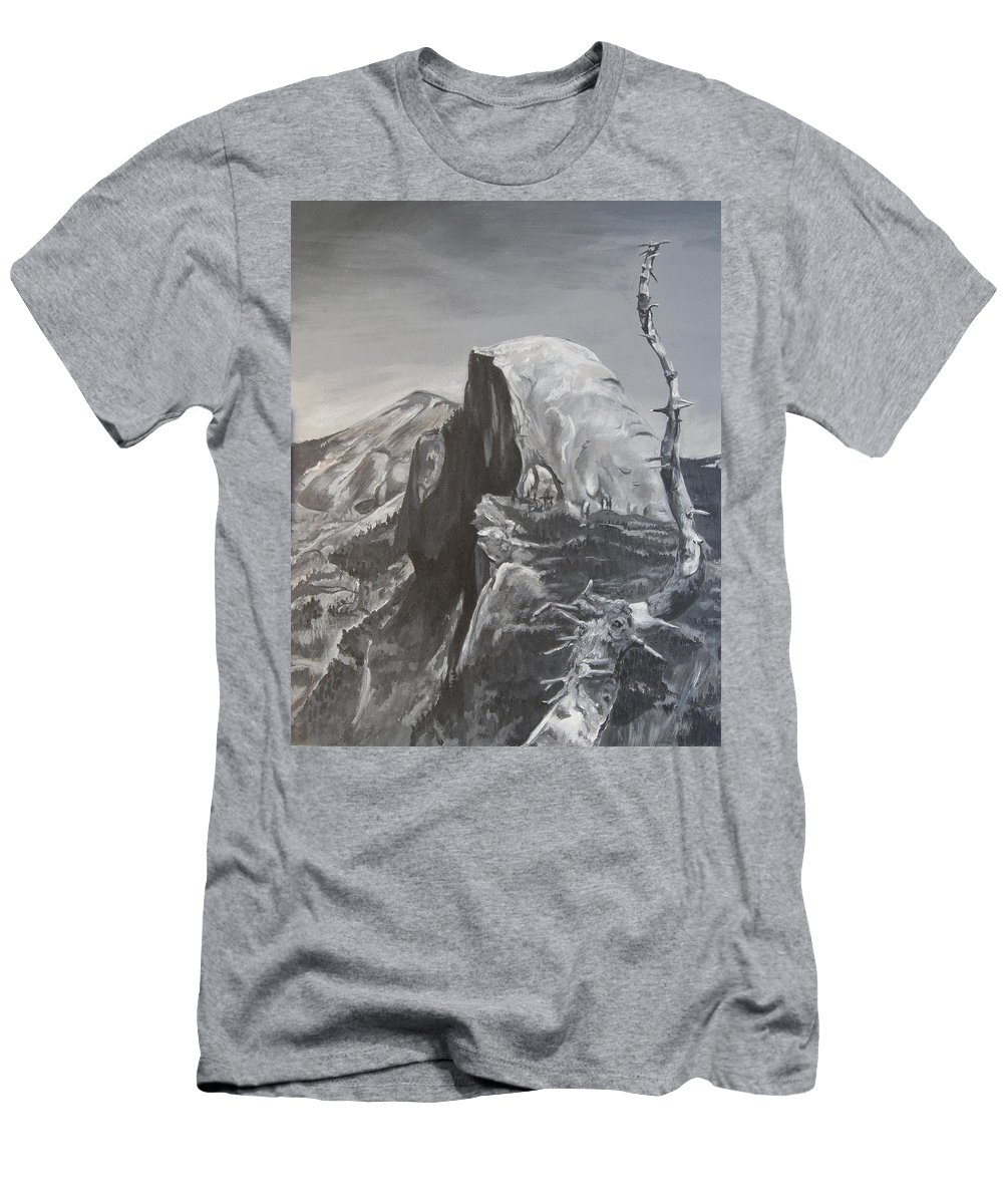 Black And White Painting T-Shirt featuring the painting Half Dome Tree by Travis Day