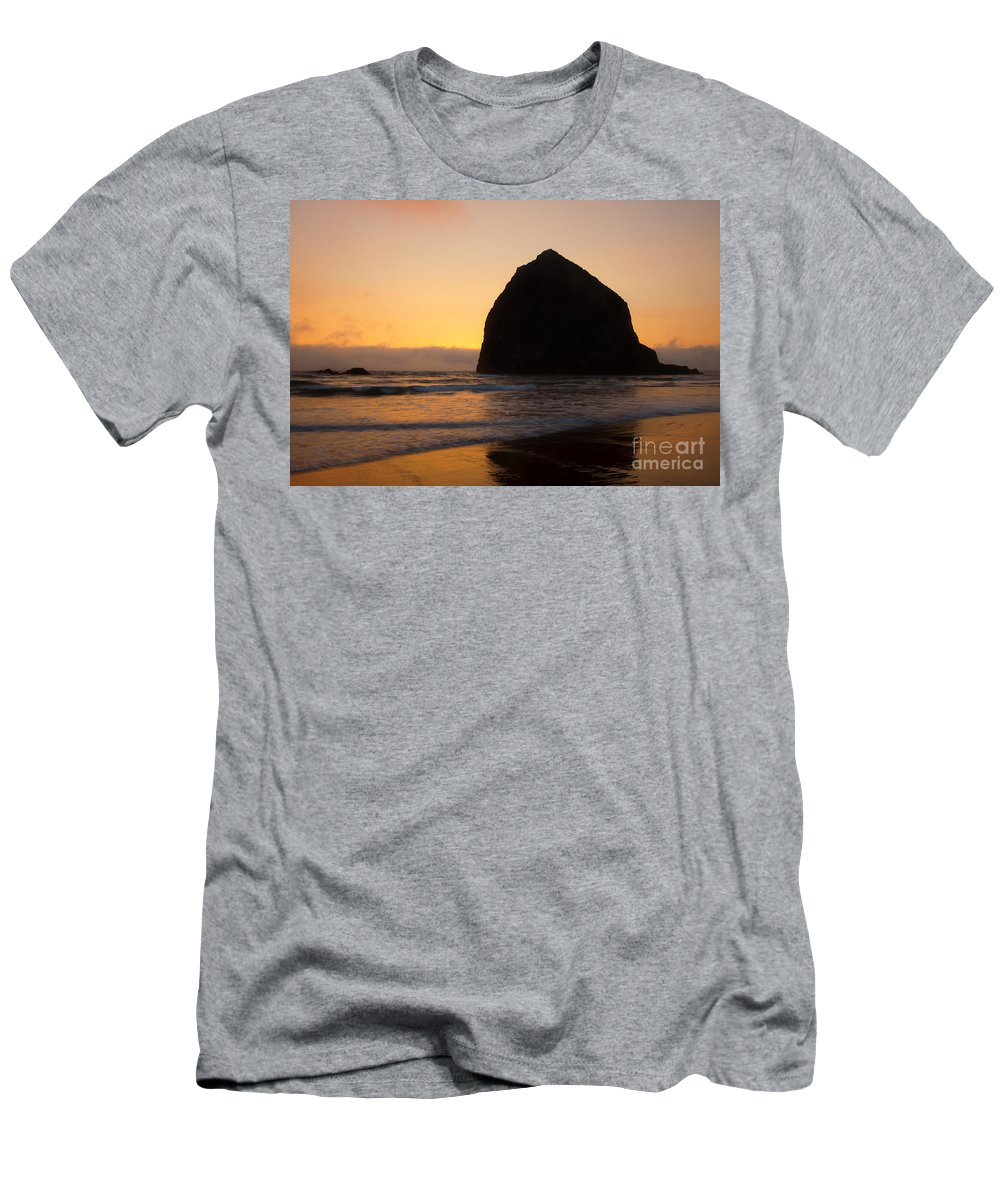 Haystack Rock Men's T-Shirt (Athletic Fit) featuring the photograph Haystack Reflections by Mike Dawson