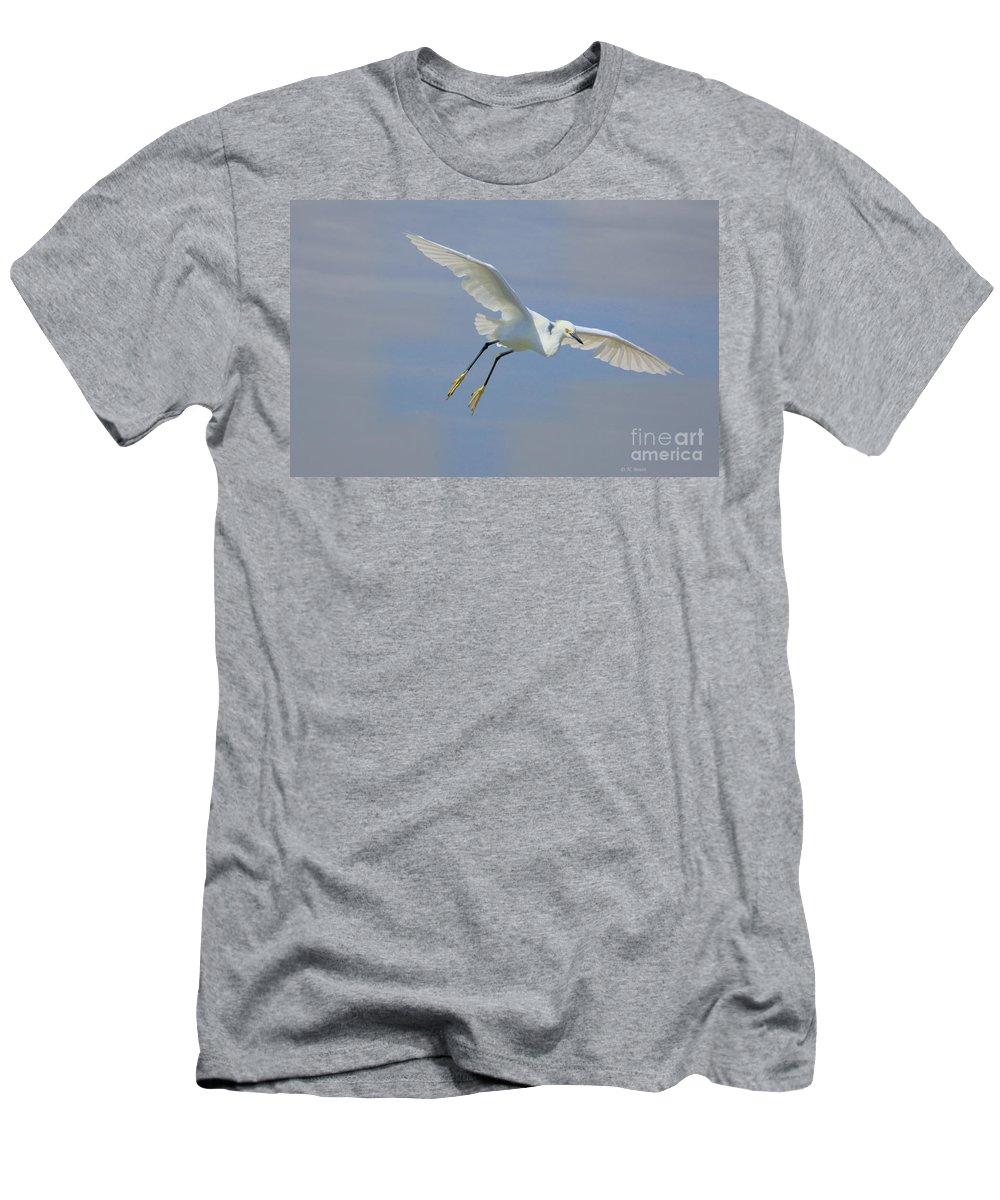 Egret Men's T-Shirt (Athletic Fit) featuring the photograph Here I Come by Deborah Benoit