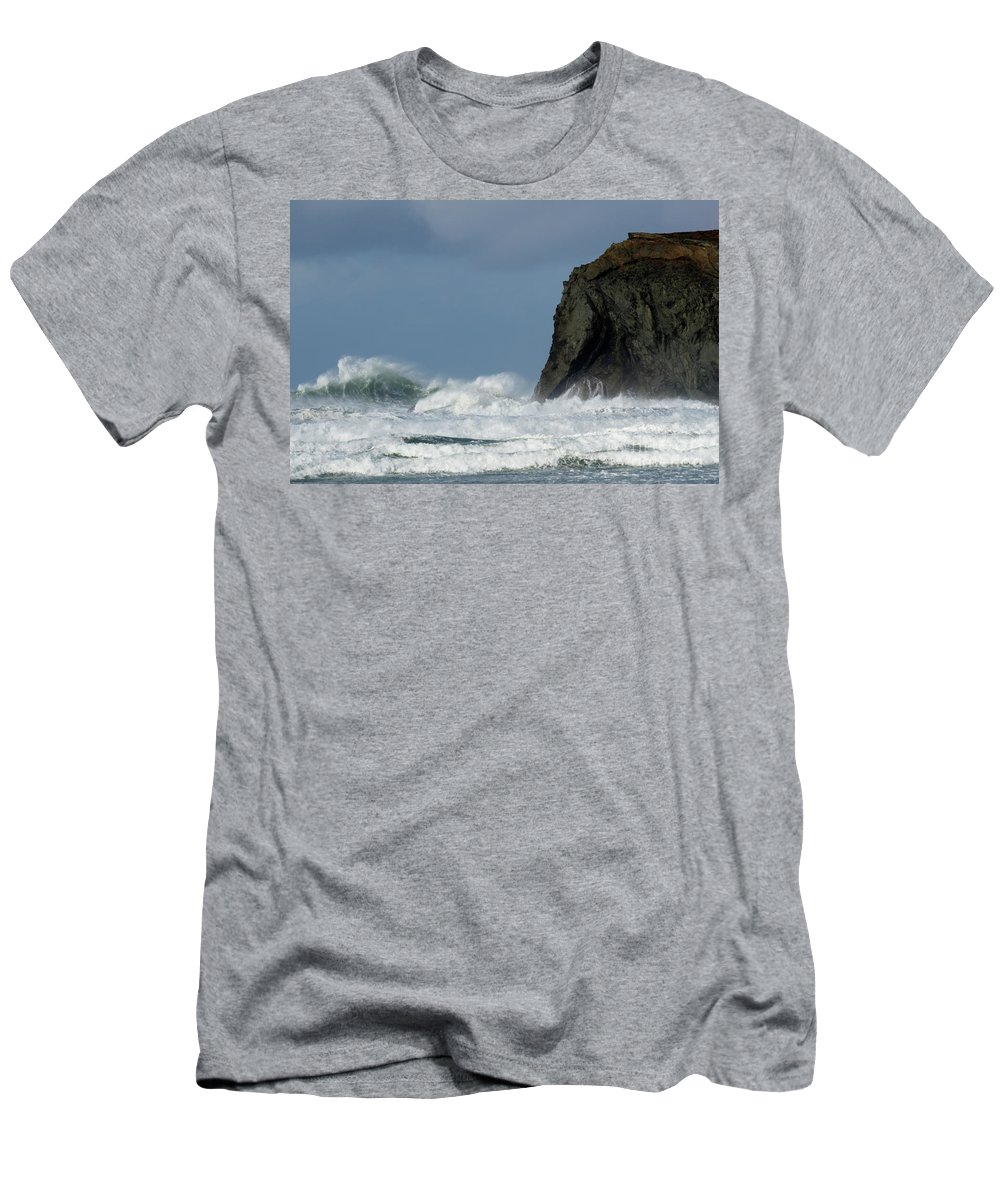 Rocks Men's T-Shirt (Athletic Fit) featuring the photograph High Surf by Bob Christopher