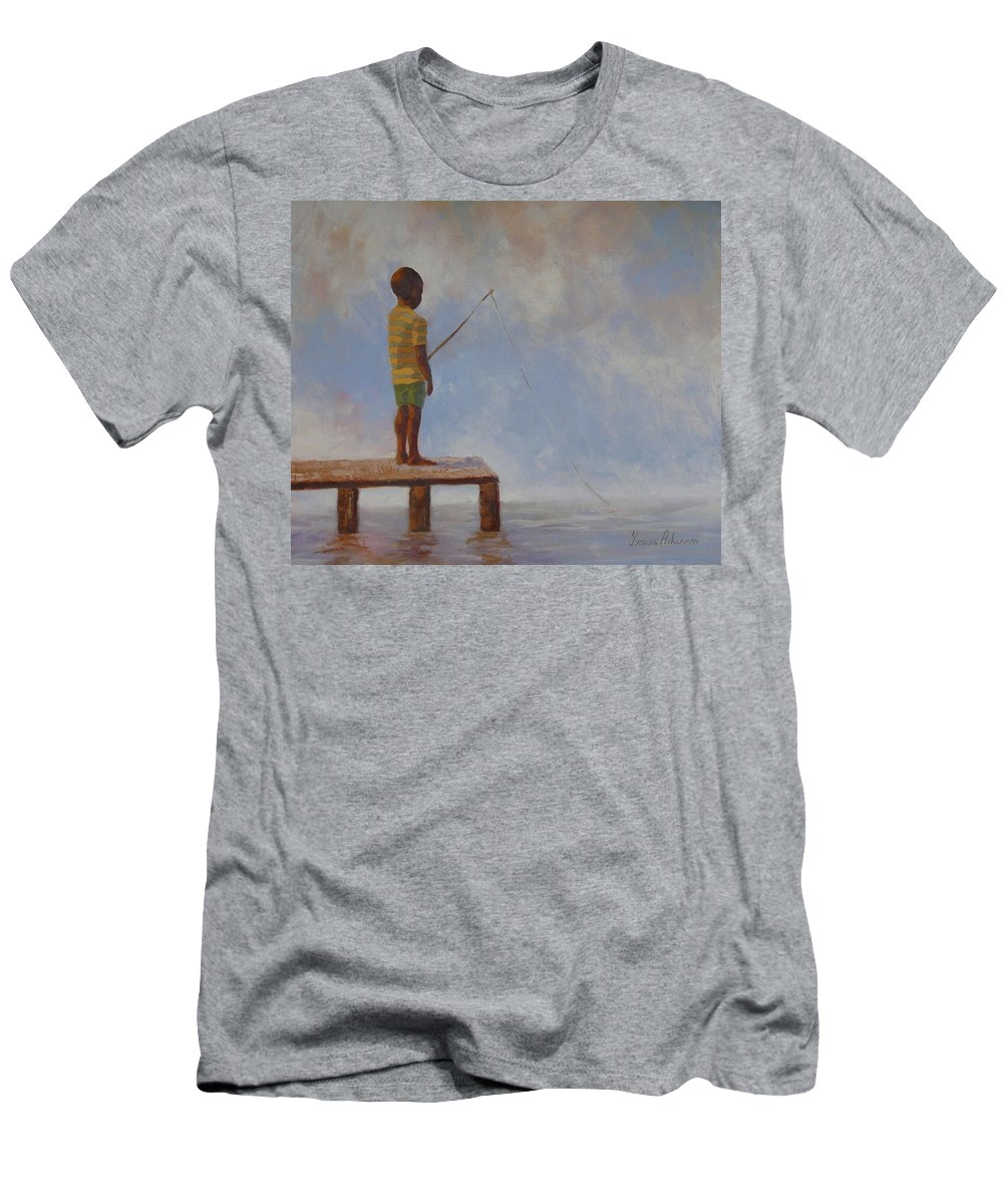 Fishing Men's T-Shirt (Athletic Fit) featuring the painting Hoping For The Big One by Yvonne Ankerman
