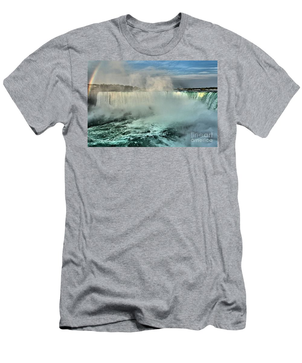 Niagara Falls State Park Men's T-Shirt (Athletic Fit) featuring the photograph Horseshoe Rainbow by Adam Jewell