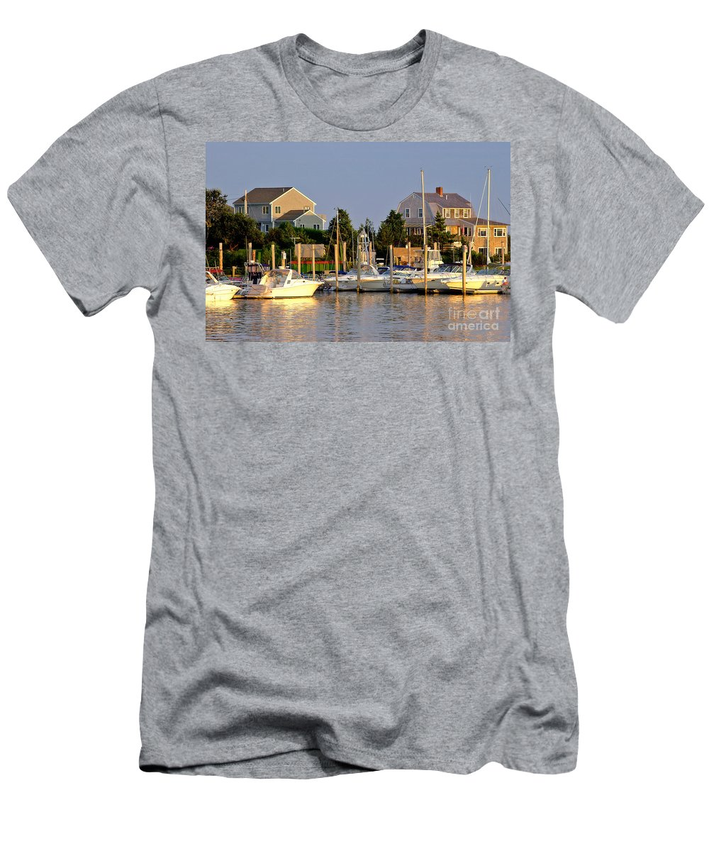 Hyannis Marina Men's T-Shirt (Athletic Fit) featuring the photograph Hyannis Harbor At Sunset by Matt Suess