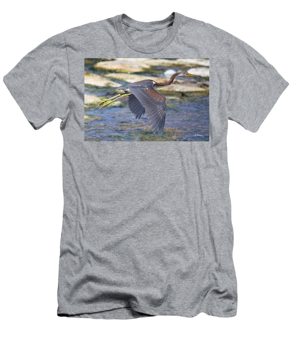 Roena King Men's T-Shirt (Athletic Fit) featuring the photograph Immature Tricolored Heron Flying by Roena King