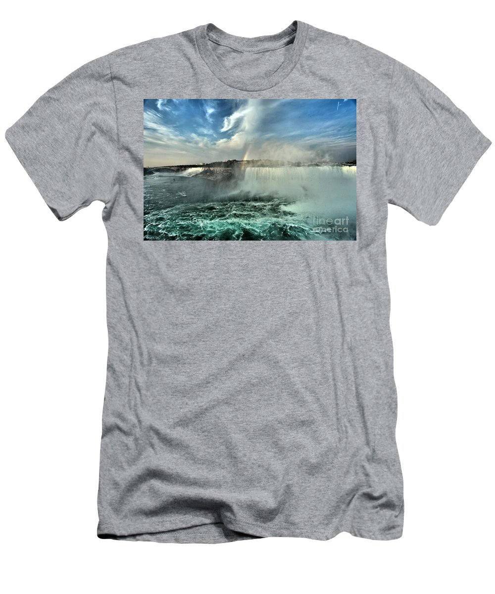 Niagara Falls State Park Men's T-Shirt (Athletic Fit) featuring the photograph In The Middle Of Horseshoe by Adam Jewell