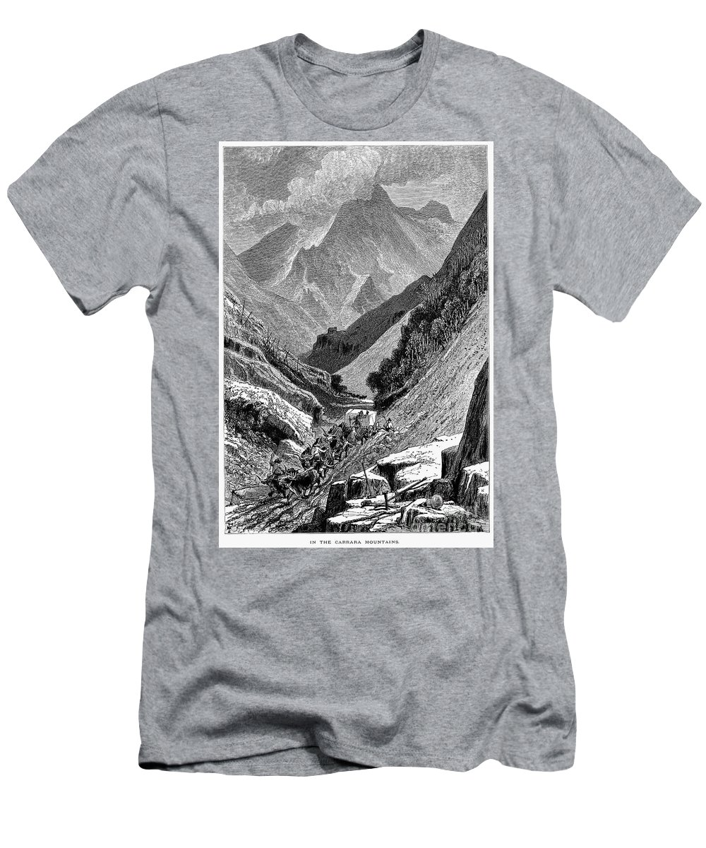 1875 Men's T-Shirt (Athletic Fit) featuring the photograph Italy: Carrara Mountains by Granger