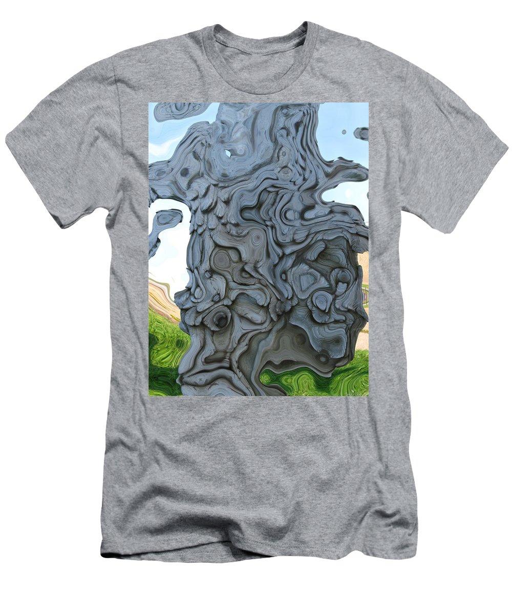 Abstract Men's T-Shirt (Athletic Fit) featuring the digital art Knarly Tree Abstract by Debbie Portwood