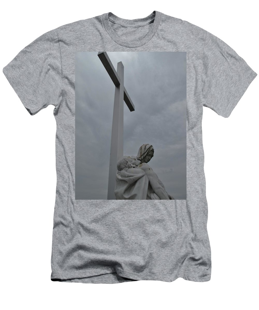 Lady Of Calvery Men's T-Shirt (Athletic Fit) featuring the photograph Lady And Cross by Michele Nelson