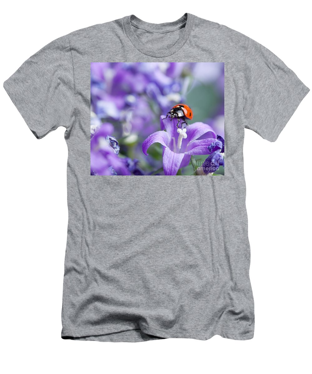 Ladybug Men's T-Shirt (Athletic Fit) featuring the photograph Ladybug And Bellflowers by Nailia Schwarz