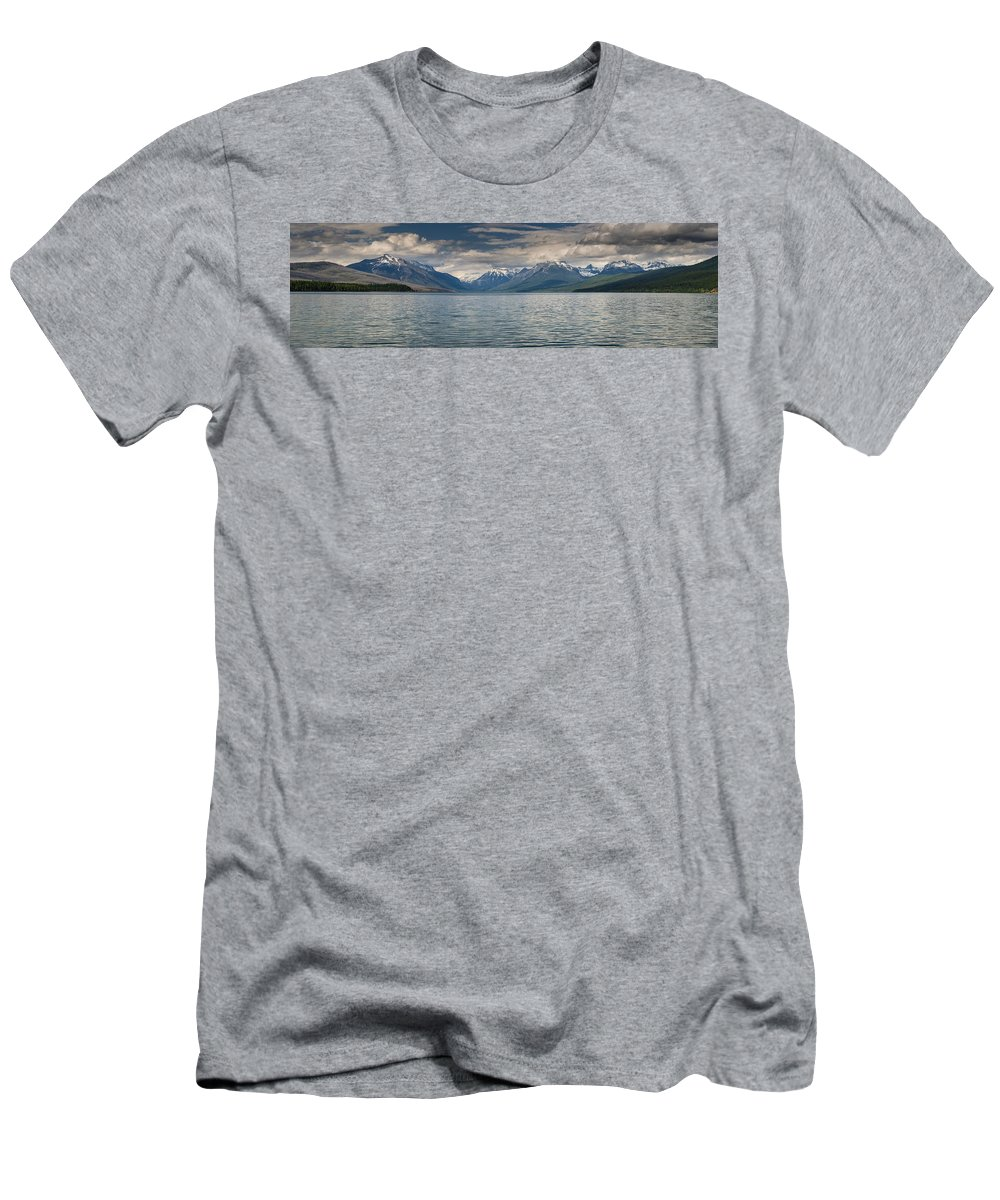 Lake Mcdonald Men's T-Shirt (Athletic Fit) featuring the photograph Lake Mcdonald Panorama by Greg Nyquist