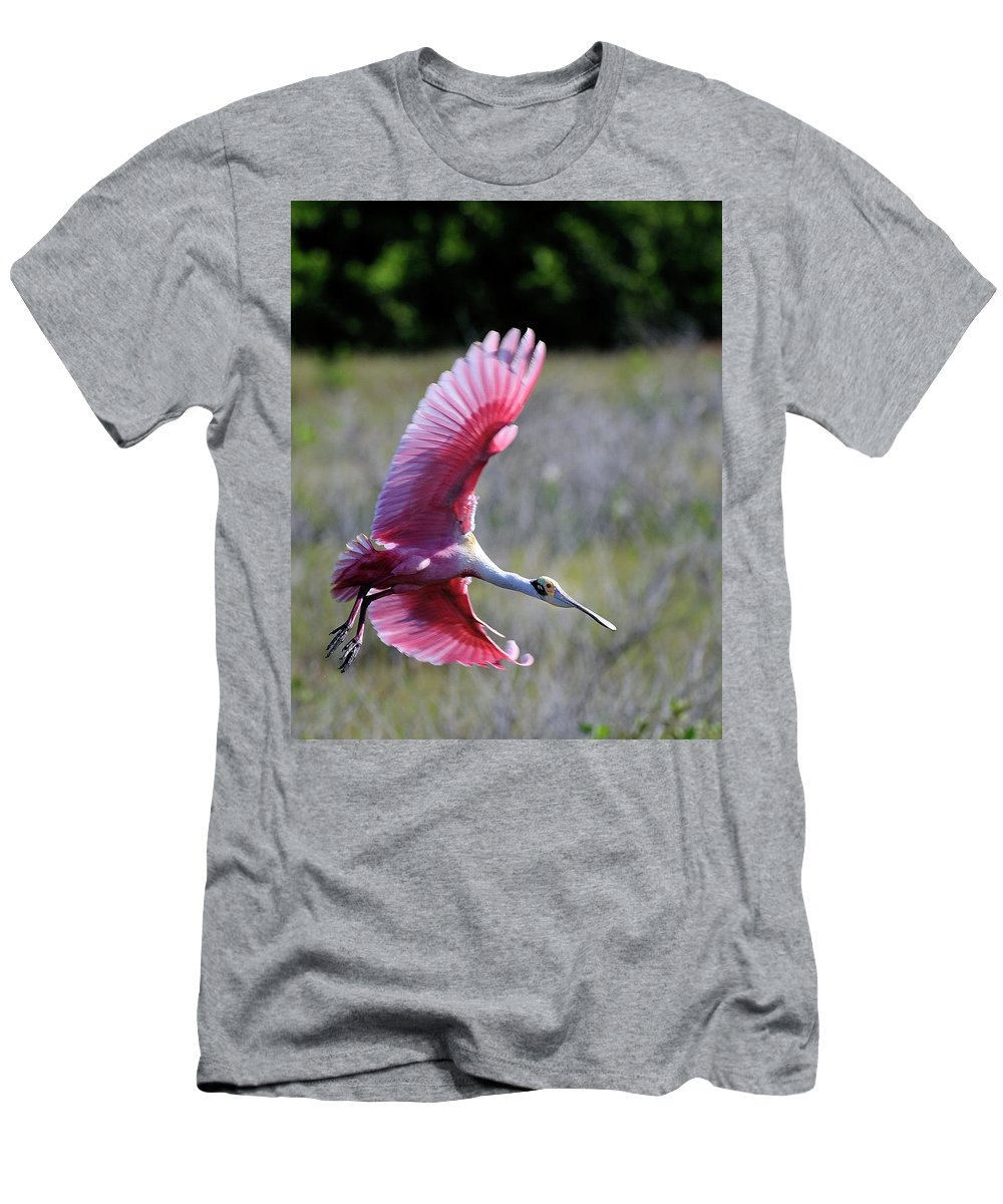 Roseate Spoonbill Men's T-Shirt (Athletic Fit) featuring the photograph Landing At The Refuge by Bill Dodsworth