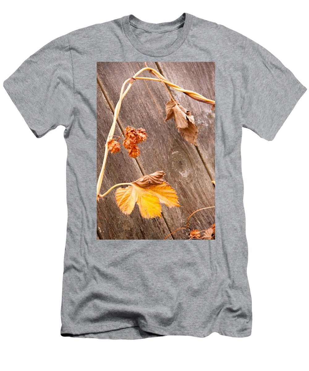 Fall Men's T-Shirt (Athletic Fit) featuring the photograph Leaf And Old Wood Fence by Rebecca Akporiaye
