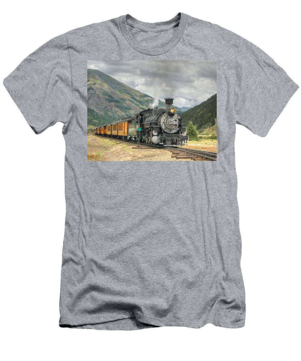 Steam Train Photographs Men's T-Shirt (Athletic Fit) featuring the photograph Leaving Now by Ken Smith