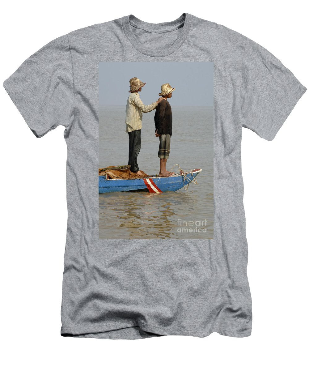 Travel Men's T-Shirt (Athletic Fit) featuring the photograph Life On Lake Tonle Sap 4 by Bob Christopher