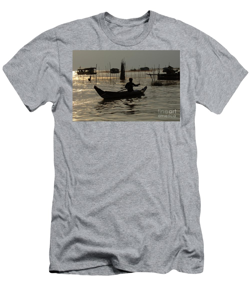 Travel Men's T-Shirt (Athletic Fit) featuring the photograph Life On Lake Tonle Sap 7 by Bob Christopher