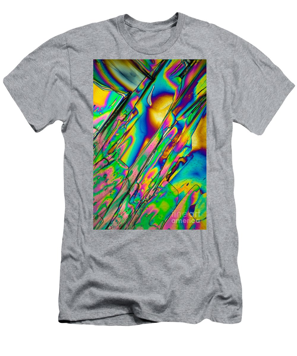 Chemistry Men's T-Shirt (Athletic Fit) featuring the photograph Lm Of Tartaric Acid Crystal by Raul Gonzalez Perez