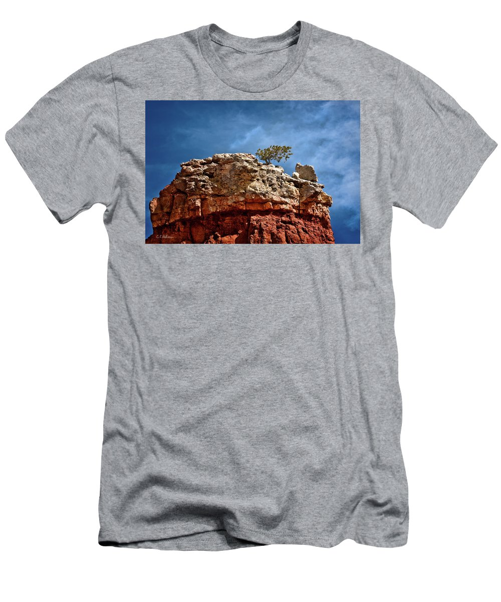 Rock Men's T-Shirt (Athletic Fit) featuring the photograph Lofty Solitude by Christopher Holmes