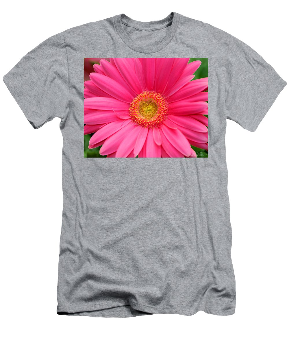 Pink Men's T-Shirt (Athletic Fit) featuring the photograph Love Daisy by Diana Haronis