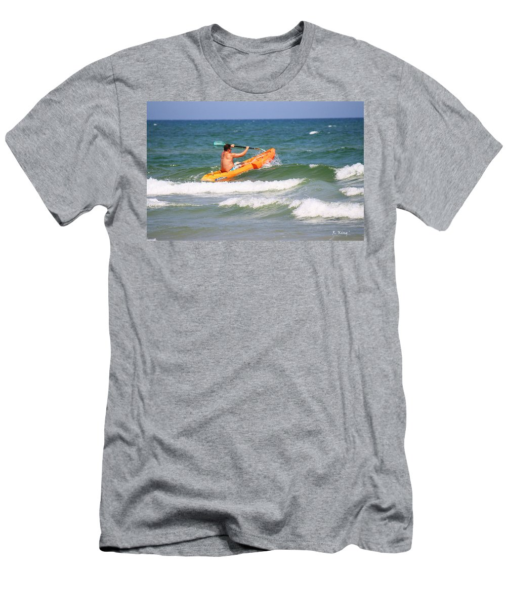 Roena King Men's T-Shirt (Athletic Fit) featuring the photograph Made It Past The Breakwater by Roena King