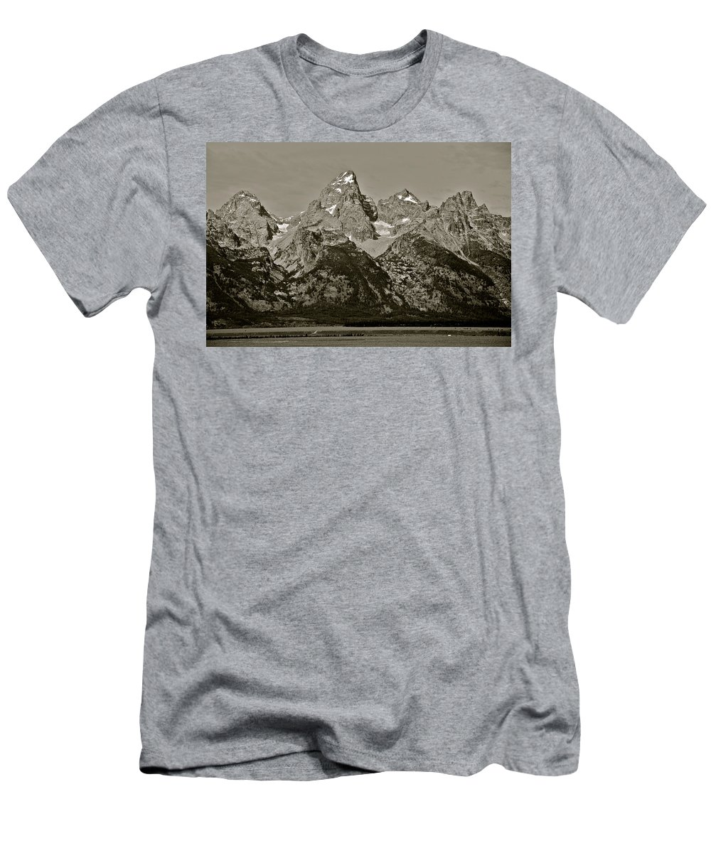 Grand Teton National Park Men's T-Shirt (Athletic Fit) featuring the photograph Middle Grand Owen And Teewinot by Eric Tressler