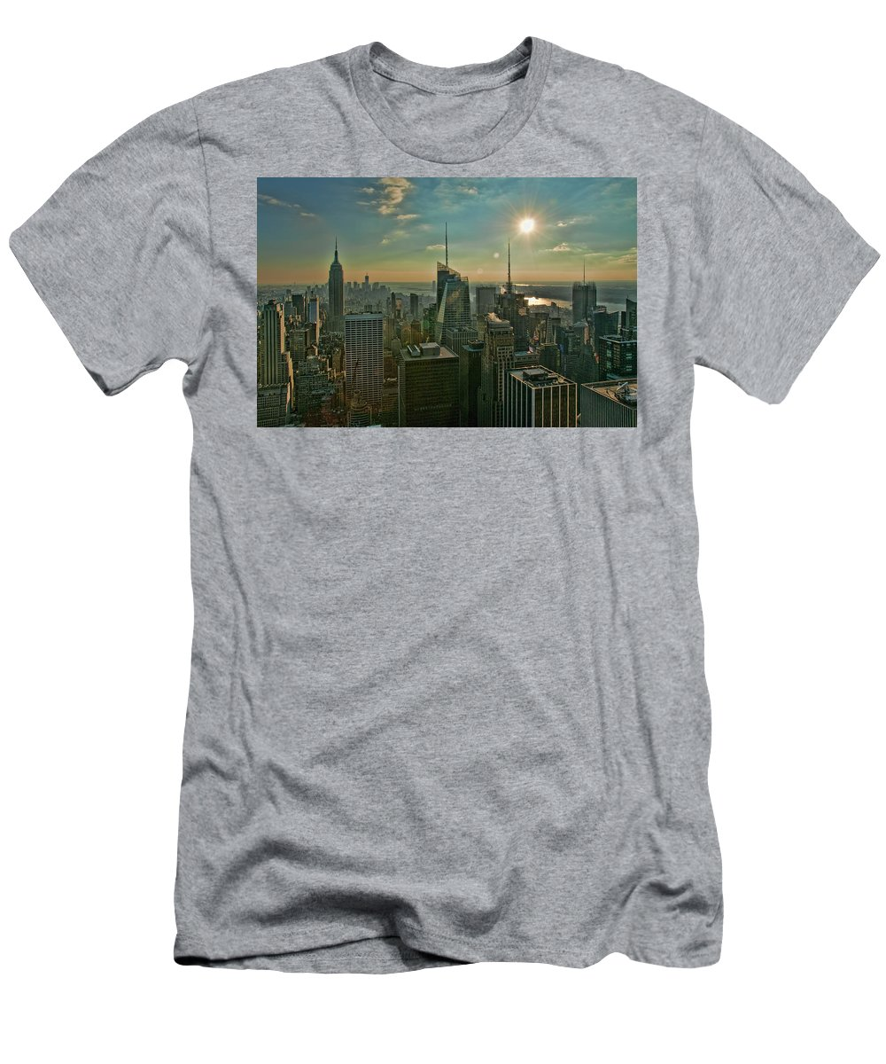 Black And White Men's T-Shirt (Athletic Fit) featuring the photograph Midtown Skyline Hdr by S Paul Sahm