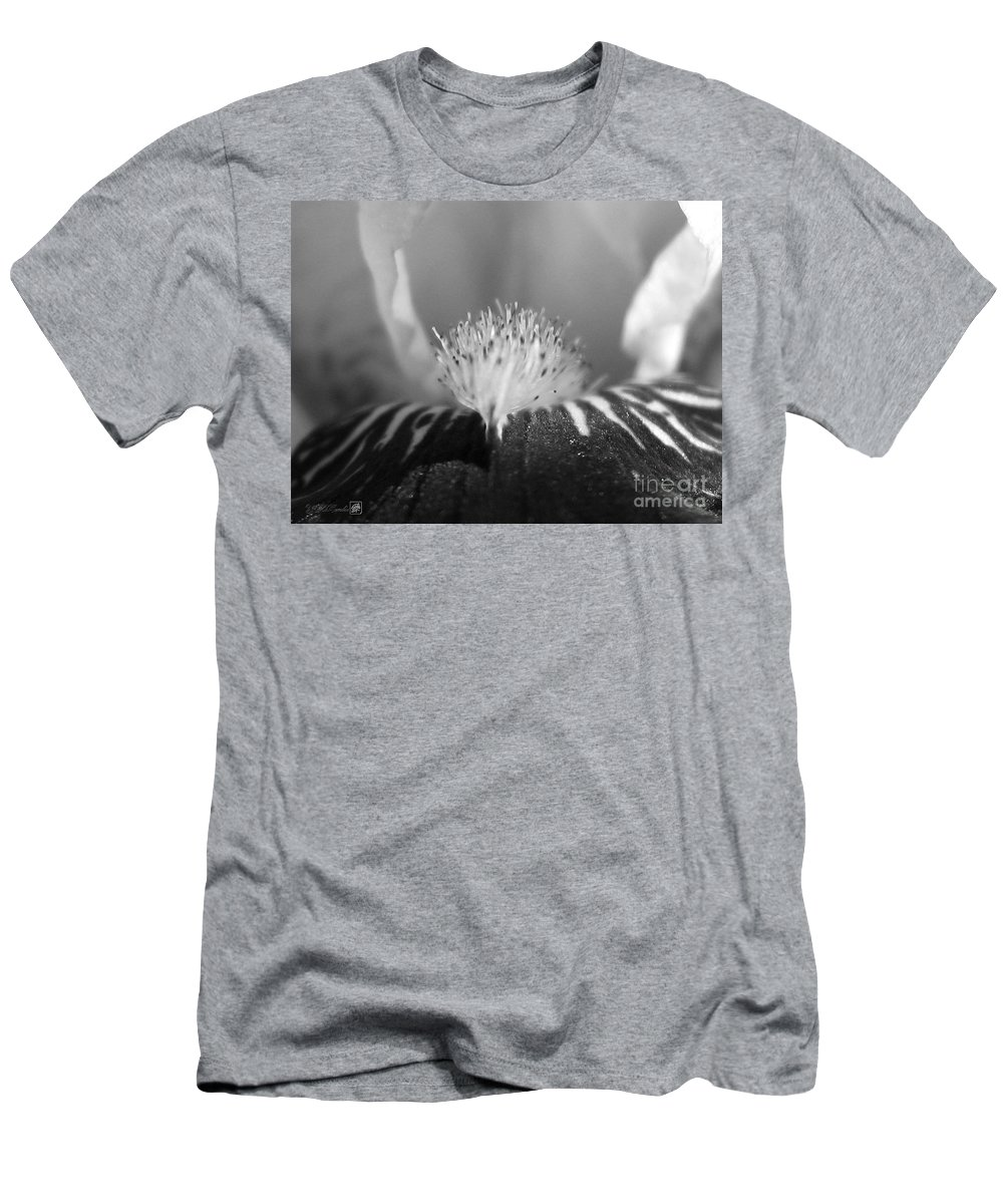 Miniature Tall Bearded Iris Men's T-Shirt (Athletic Fit) featuring the photograph Miniature Tall Bearded Iris Named Consummation by J McCombie