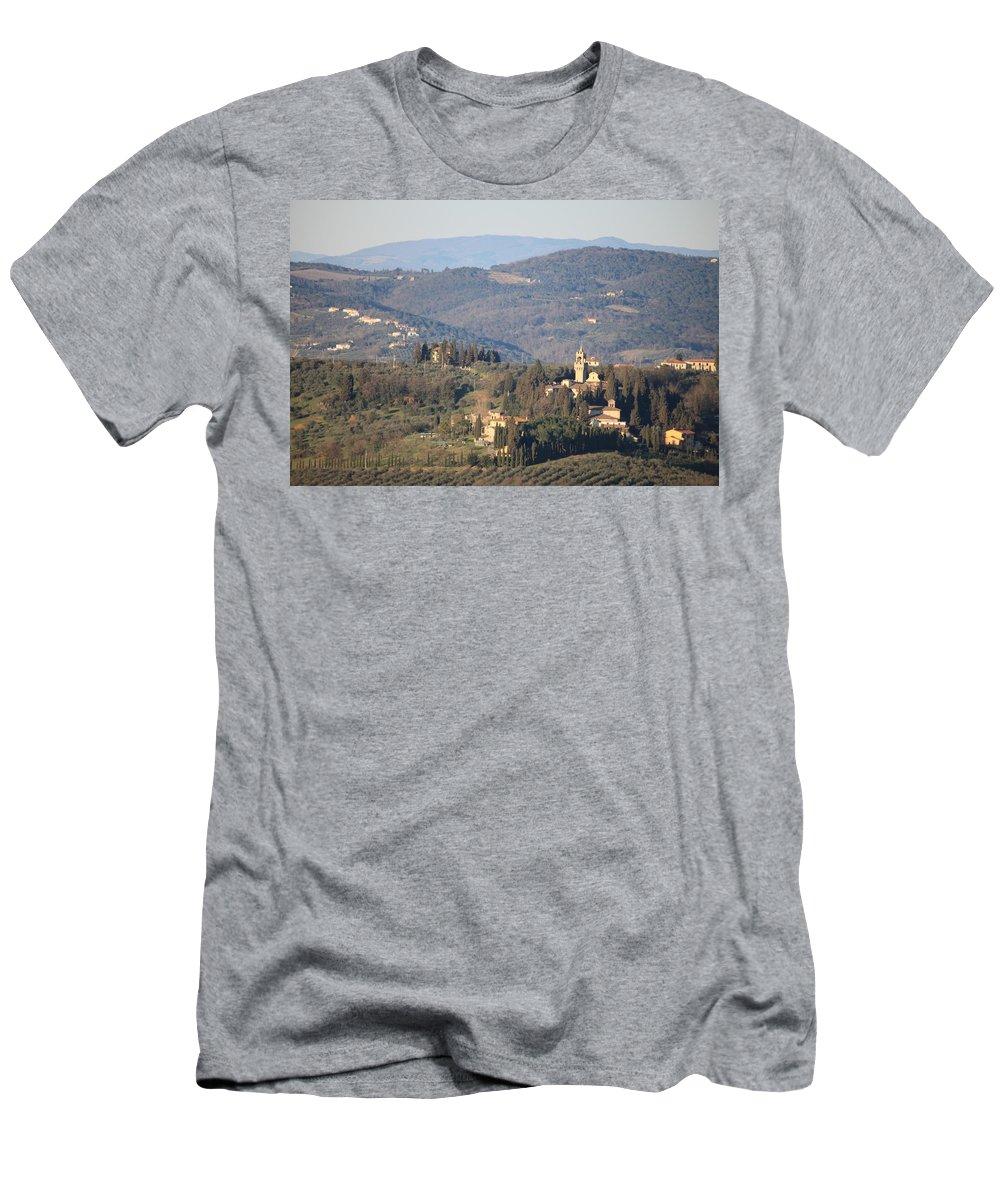 Castle Men's T-Shirt (Athletic Fit) featuring the photograph Montegufoni Castle by Francesco Scali