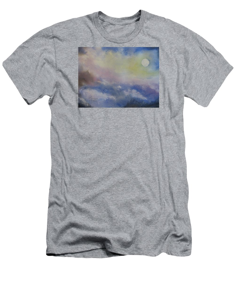 Light Men's T-Shirt (Athletic Fit) featuring the painting Moonlight by Karen Stark