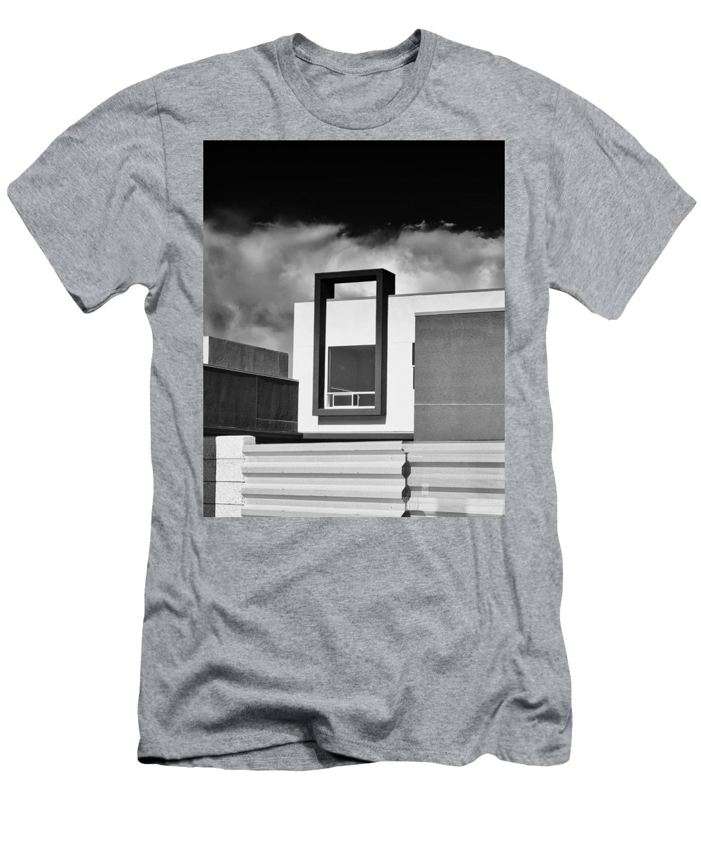 Morrison Men's T-Shirt (Athletic Fit) featuring the photograph Morrison Window Bw Palm Springs by William Dey