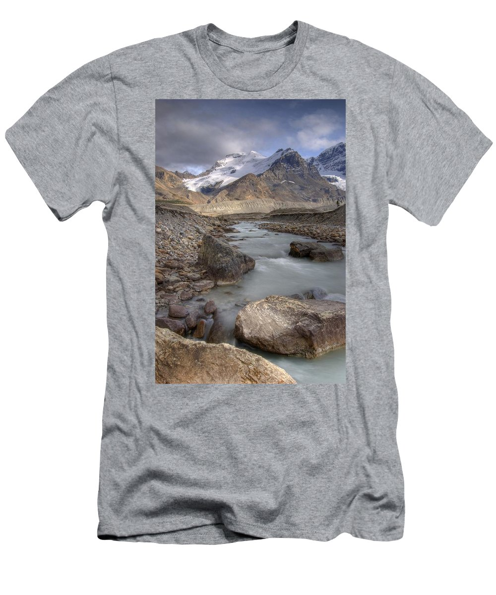 Color Image Men's T-Shirt (Athletic Fit) featuring the photograph Mount Athabasca At Sunset Jasper by Philippe Widling