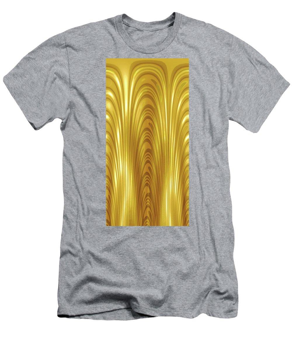 Moveonart! Global Gathering. -- Digital Abstract Art By Jacob Kane -- Omnetra Men's T-Shirt (Athletic Fit) featuring the digital art Moveonart Goldlight by Jacob Kanduch