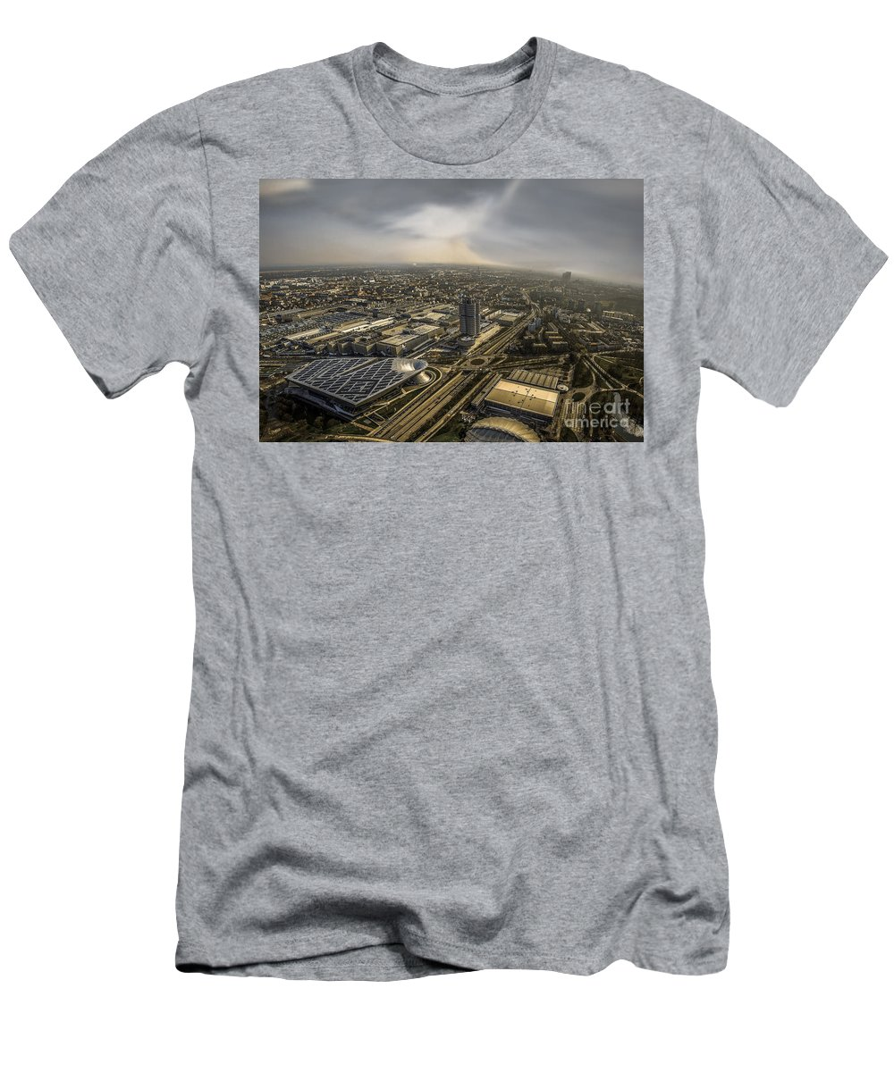 Architecture Men's T-Shirt (Athletic Fit) featuring the photograph Munich From Above - Vintage Part by Hannes Cmarits