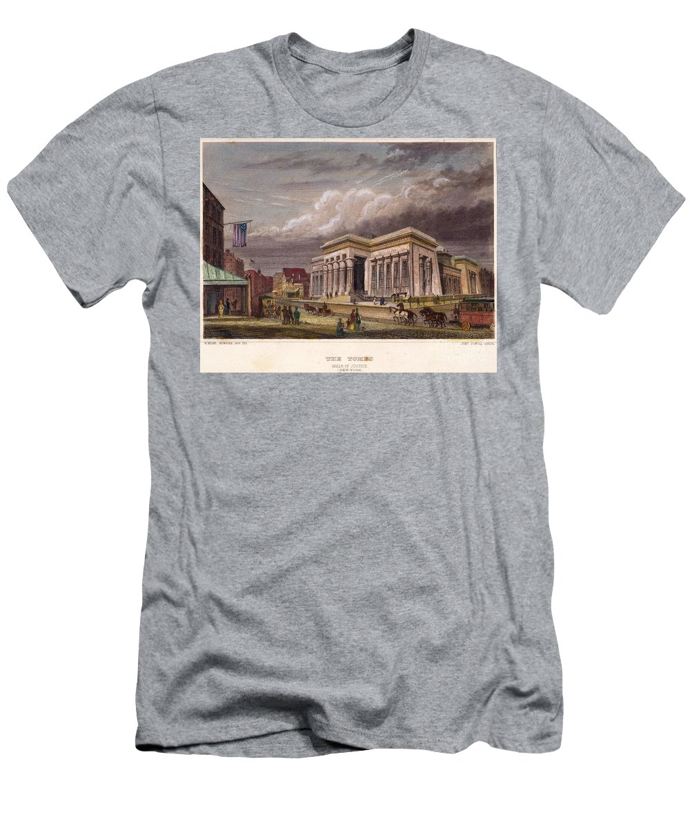 1850 Men's T-Shirt (Athletic Fit) featuring the photograph Nyc: The Tombs, 1850 by Granger