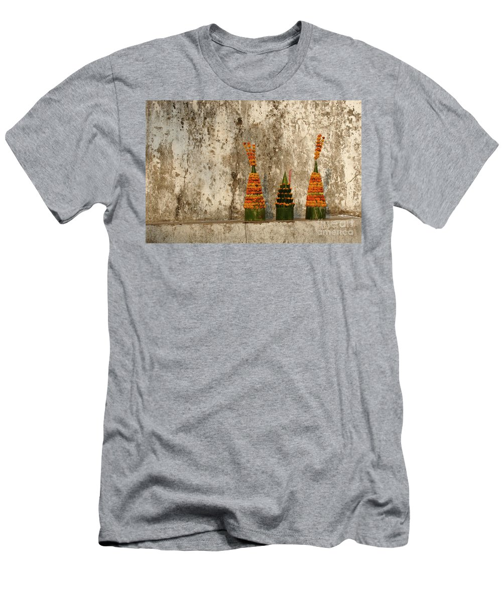 Laos Men's T-Shirt (Athletic Fit) featuring the photograph Offerings by Bob Christopher
