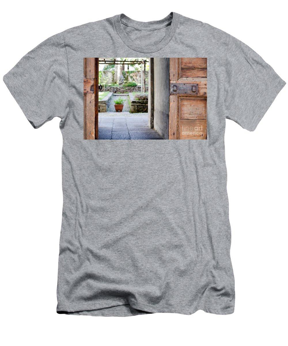 Door Men's T-Shirt (Athletic Fit) featuring the photograph Old Door by Mats Silvan