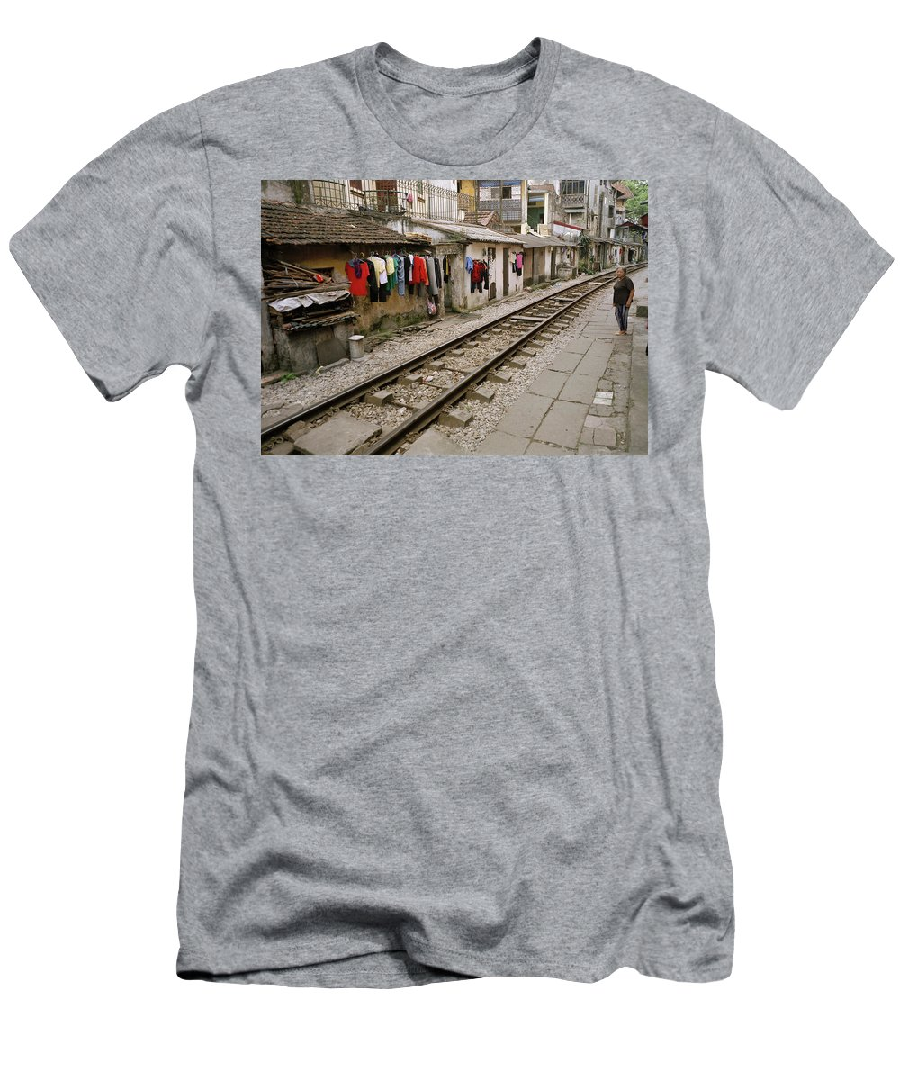 Asia Men's T-Shirt (Athletic Fit) featuring the photograph Old Hanoi By The Tracks by Shaun Higson
