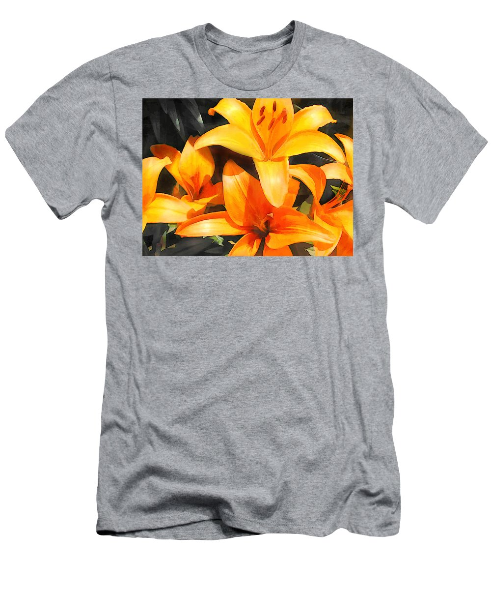 Flower Flowers Garden Lilies Lily Daylily Daylilies Orange Day+lily Day+lilies Flora Floral Nature Natural Men's T-Shirt (Athletic Fit) featuring the painting Orange Lilies by Elaine Plesser