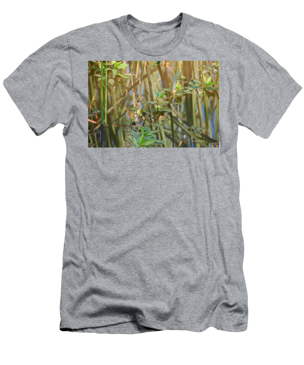 Pond Men's T-Shirt (Athletic Fit) featuring the photograph Out On The Pond by Donna Blackhall