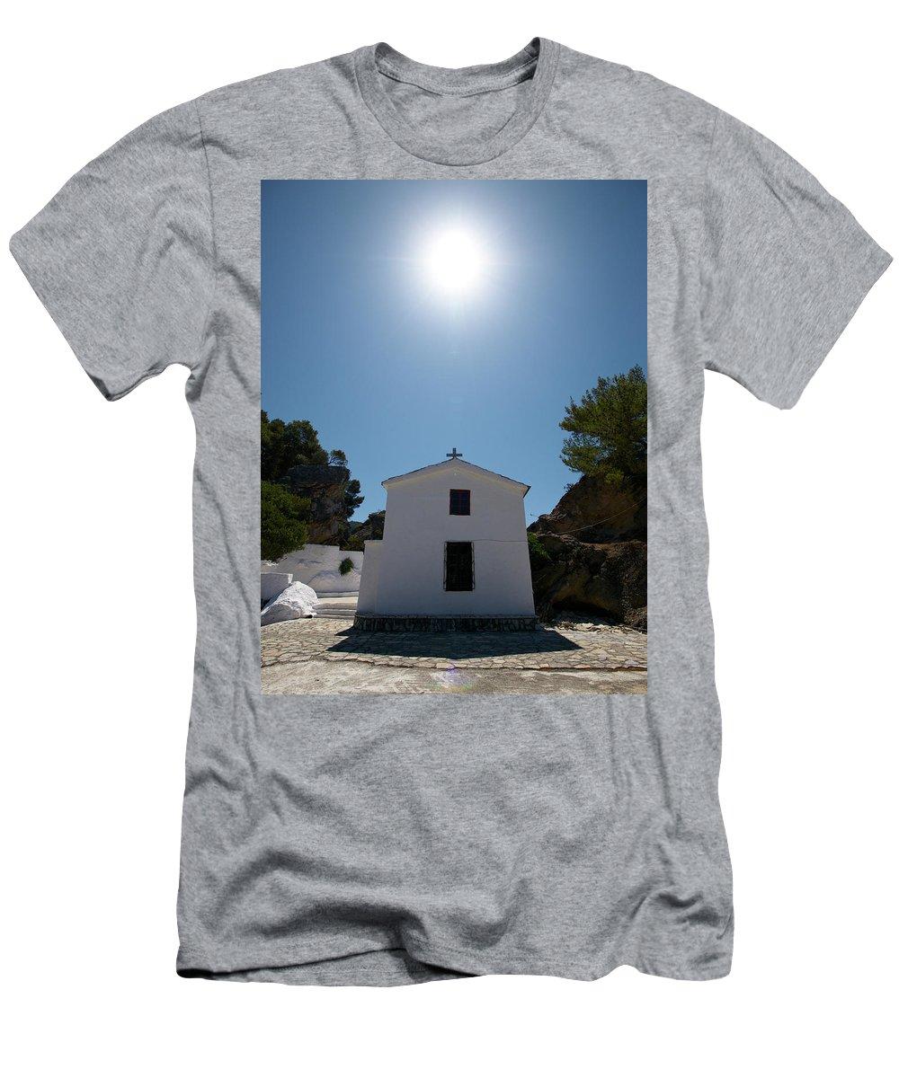 Jouko Lehto Men's T-Shirt (Athletic Fit) featuring the photograph Panagias Chappel by Jouko Lehto