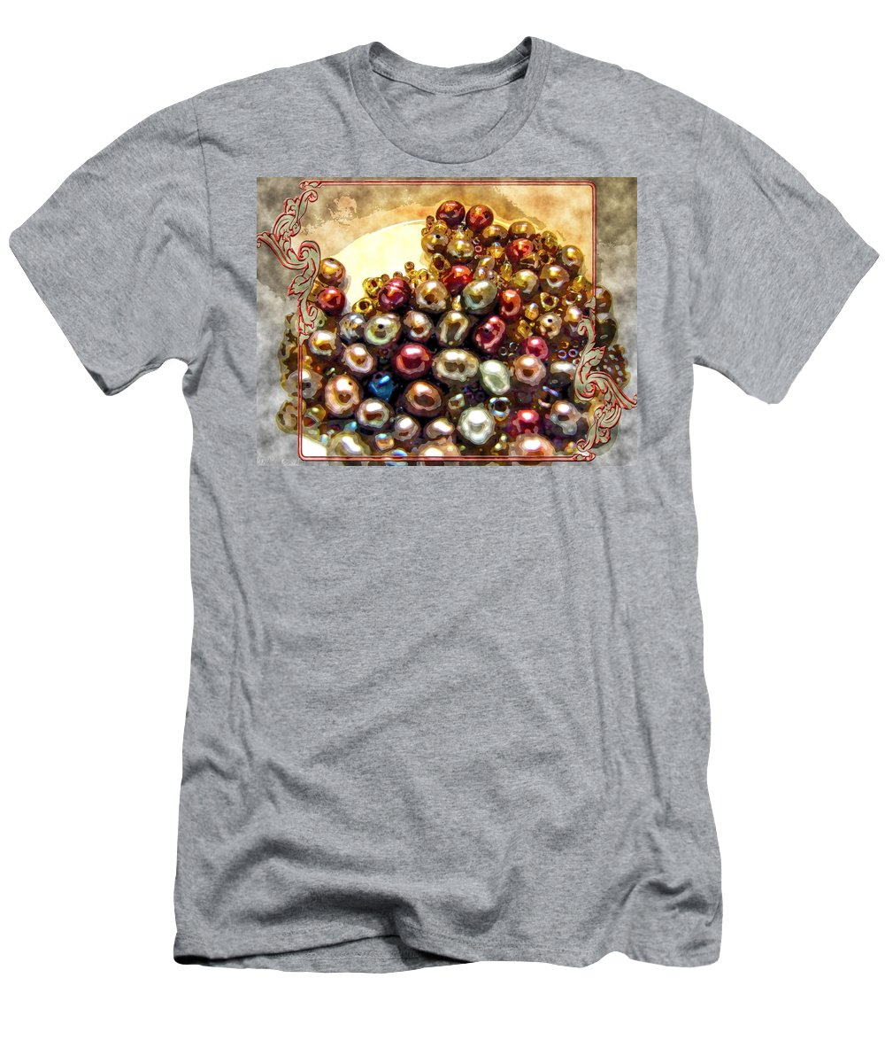 Men's T-Shirt (Athletic Fit) featuring the photograph Pearls In A Pile Art by Debbie Portwood