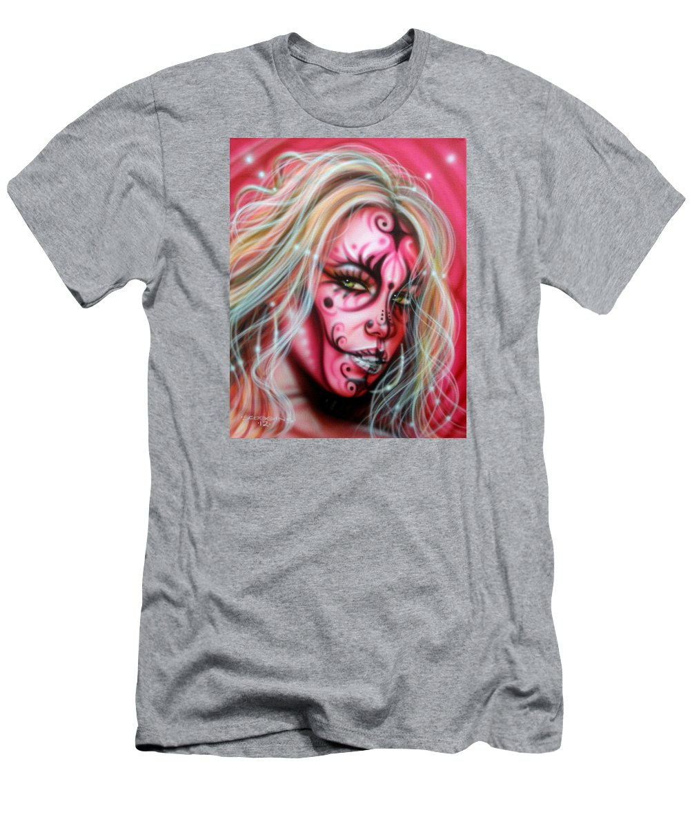 Fantasy Men's T-Shirt (Athletic Fit) featuring the painting Pink Beauty by Timothy Scoggins