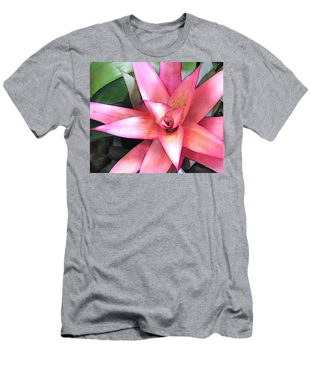 Flower Flowers Garden Bromeliads Bromeliad Succulent Flora Floral Nature Natural Men's T-Shirt (Athletic Fit) featuring the painting Pink Bromeliad by Elaine Plesser