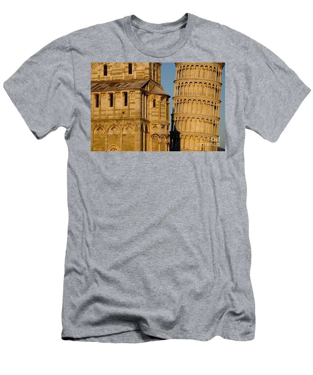 Pisa Men's T-Shirt (Athletic Fit) featuring the photograph Pisa Tower And Cathedral by Mats Silvan