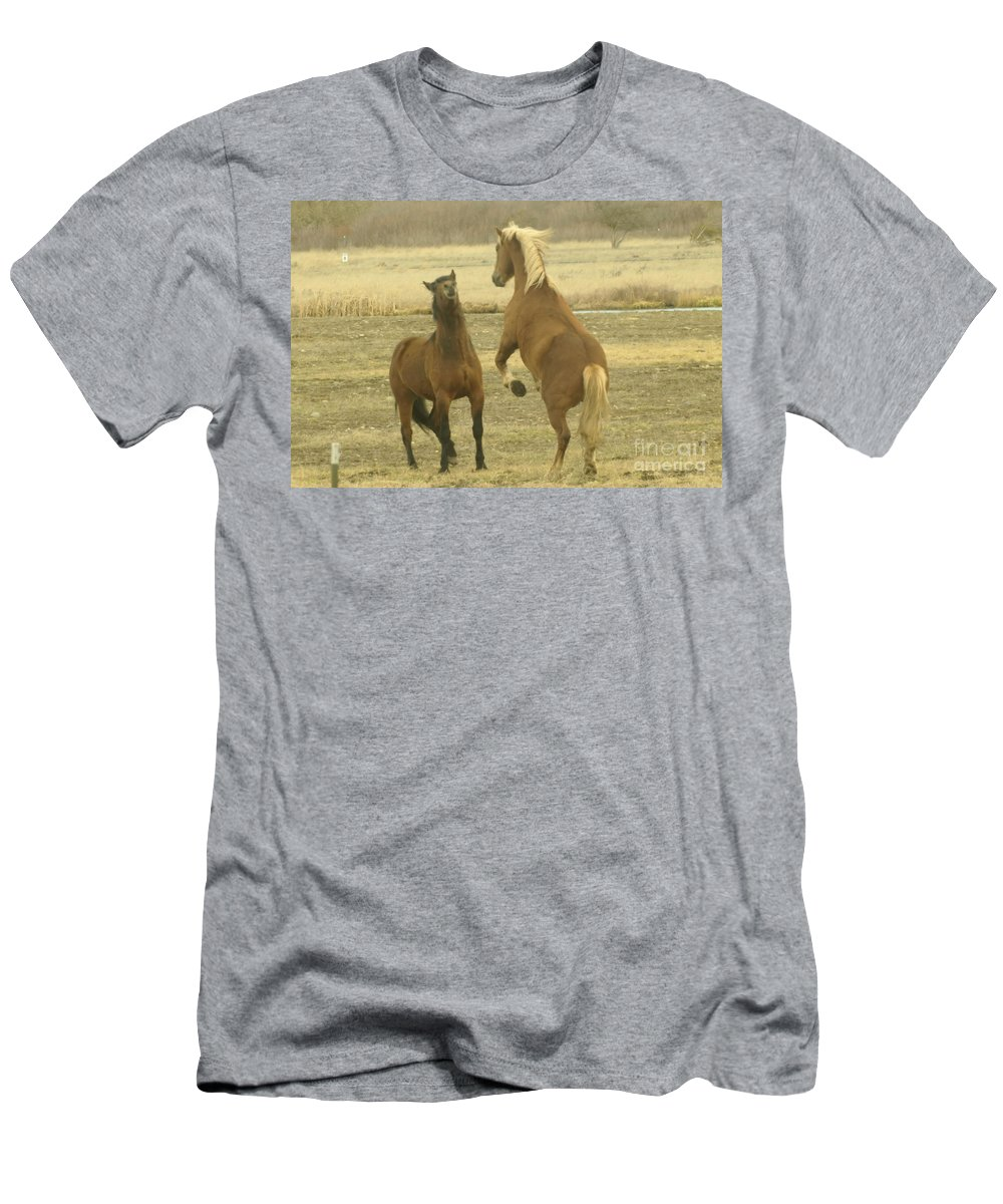 Horses Men's T-Shirt (Athletic Fit) featuring the photograph Playing Around  by Jeff Swan