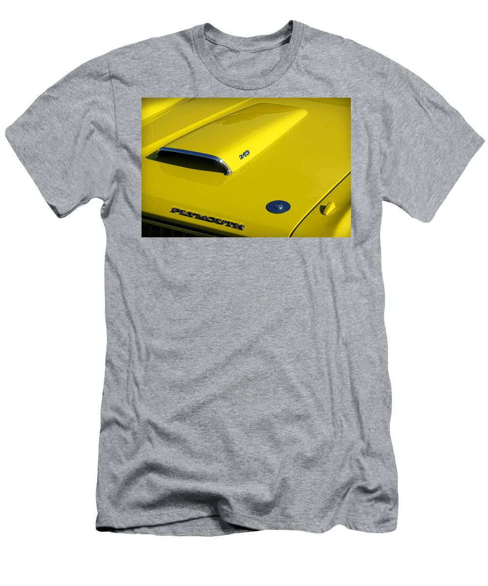 Plymouth Men's T-Shirt (Athletic Fit) featuring the photograph Plymouth Duster 340 Hood Scoop by Gordon Dean II