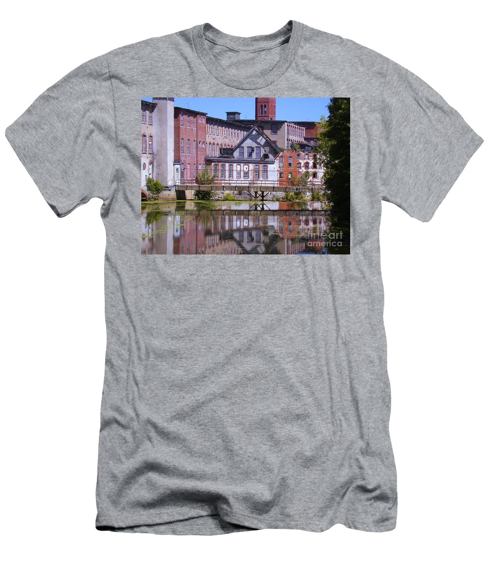 Warwick Men's T-Shirt (Athletic Fit) featuring the photograph Pontiac Mills Dam by Tim Mulina