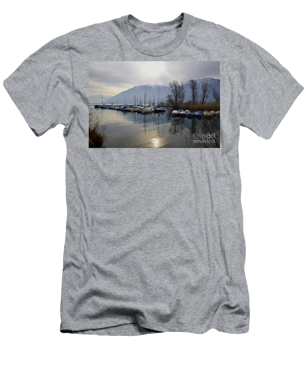 Port Men's T-Shirt (Athletic Fit) featuring the photograph Port With Snow-capped Mountain by Mats Silvan