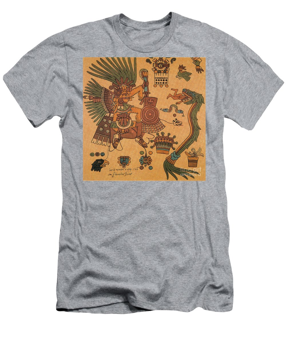 History Men's T-Shirt (Athletic Fit) featuring the photograph Quetzalcoatl, Aztec Feathered Serpent by Photo Researchers